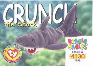 TY Beanie Babies BBOC Card - Series 2 Common - CRUNCH the Shark - NM/Mint