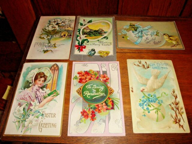 Antique Vintage Easter Postcards Mixed Lot of 6 Early 1900s  Group B