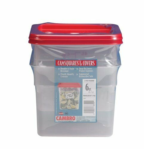 Cambro Set of 2 Square Food Storage Containers With Lids 6 Quart eBay