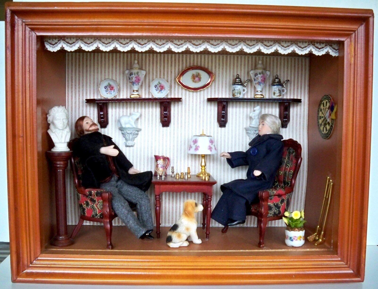 1 12 - Reutter - Wandbild Herrenzimmer - Puppenzimmer-Schaukasten
