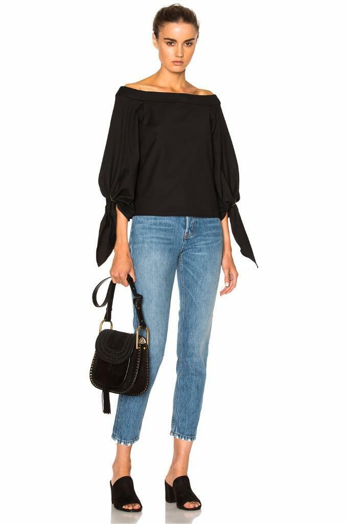 NWT Tibi AGATHE OFF-THE-SHOULDER SCULPTED TOP in schwarz