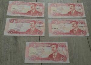 IRAK 5 billets neufs 5 DINARS Pick80  emis sous SADDAM HUSSEIN sous embargo 1992