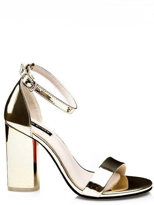 Sandale quadrato eleganti 9.5 cm oro lucido simil pelle eleganti 8954