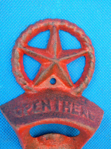 Western Cast Iron Beer Soda Bar Bottle Opener Texas Star RED With Screws NEW