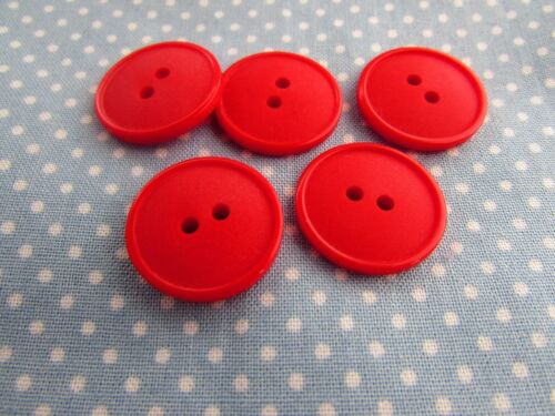 5 or 10 15mm Matt Lipped 2 Hole Buttons in Red Packs of 2