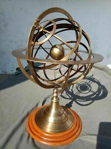 Antique Armillary Brass Desktop Globe Sphere Wooden Base Vintage Astrolabe