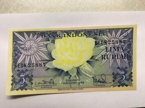 1959 Indonesia 5 Rupiah Note Gem Crisp Unc. #8675
