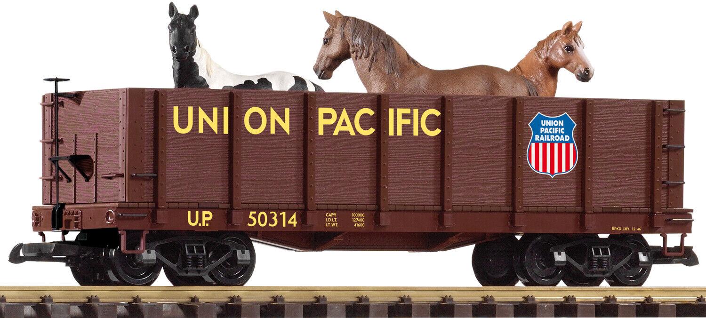Piko G-escala 38725 Union Pacific alta lado Góndola Con Caballos en Caja Como Nuevo Nuevo