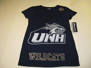 University-New-Hampshire-UNH-Wildcats-Mascot-Blue-T-Shirt-NWT-Ladies-Petite-MED