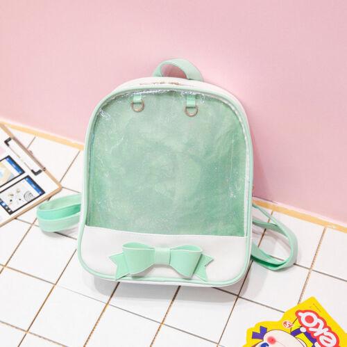 Transparent Clear Bowknot Ita Bag Pin Dolls Backpack Lolita Girl PU Shoulder Bag