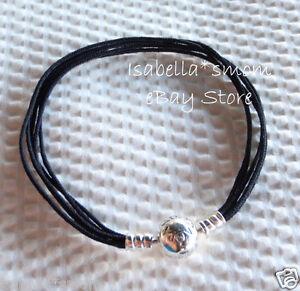 Image Is Loading New Authentic Pandora Black Multi Strand Cord Bracelet