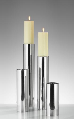 758002997 Kerzen Leuchter Sub Edelstahl 25cm NEU