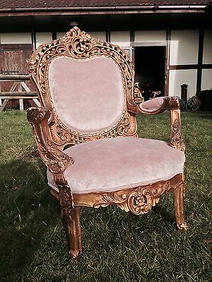 FRENCH LOUIS ANTIQUE GOLD THRONE CHAIR IN BLUSH PINK @AUNTIES PARLOUR WOW!