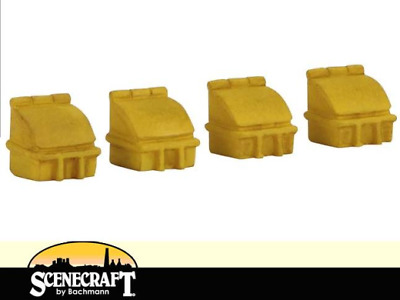 Pack of 4 OO Gauge Bachmann 44-546 Highways Grit Boxes Yellow