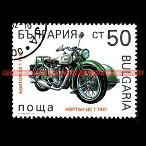 NORTON-500-CS-1-Side-Car-1931-CS1-BULGARIA-BULGARIE-Moto-Timbre-Poste