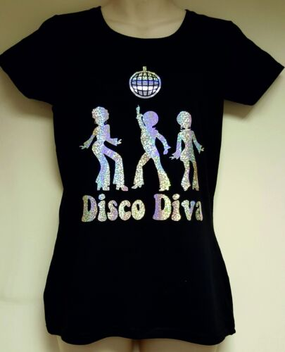 """Ladies Black T-Shirt Sparkly /""""Disco Diva/"""" Print Option to include name"""