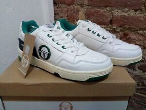 SERGIO-TACCHINI-PC84-100-LEATHER-SNEAKERS-WHITE-NAVY-GREEN-NEW-CASUAL