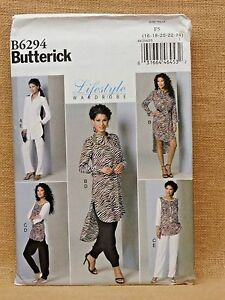 BUTTERICK PATTERN 6294 TUNIC PANTS MISSES SIZES 16 18 20 22 24 UNCUT