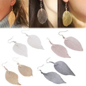 PAIR-Women-039-s-Long-Natural-Real-Dipped-Leaf-Leaves-Dangle-Earrings-Hook-Studs