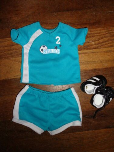 American Girl Doll Soccer Outfit Turquoise Blue & Black Shoes Fit 18""