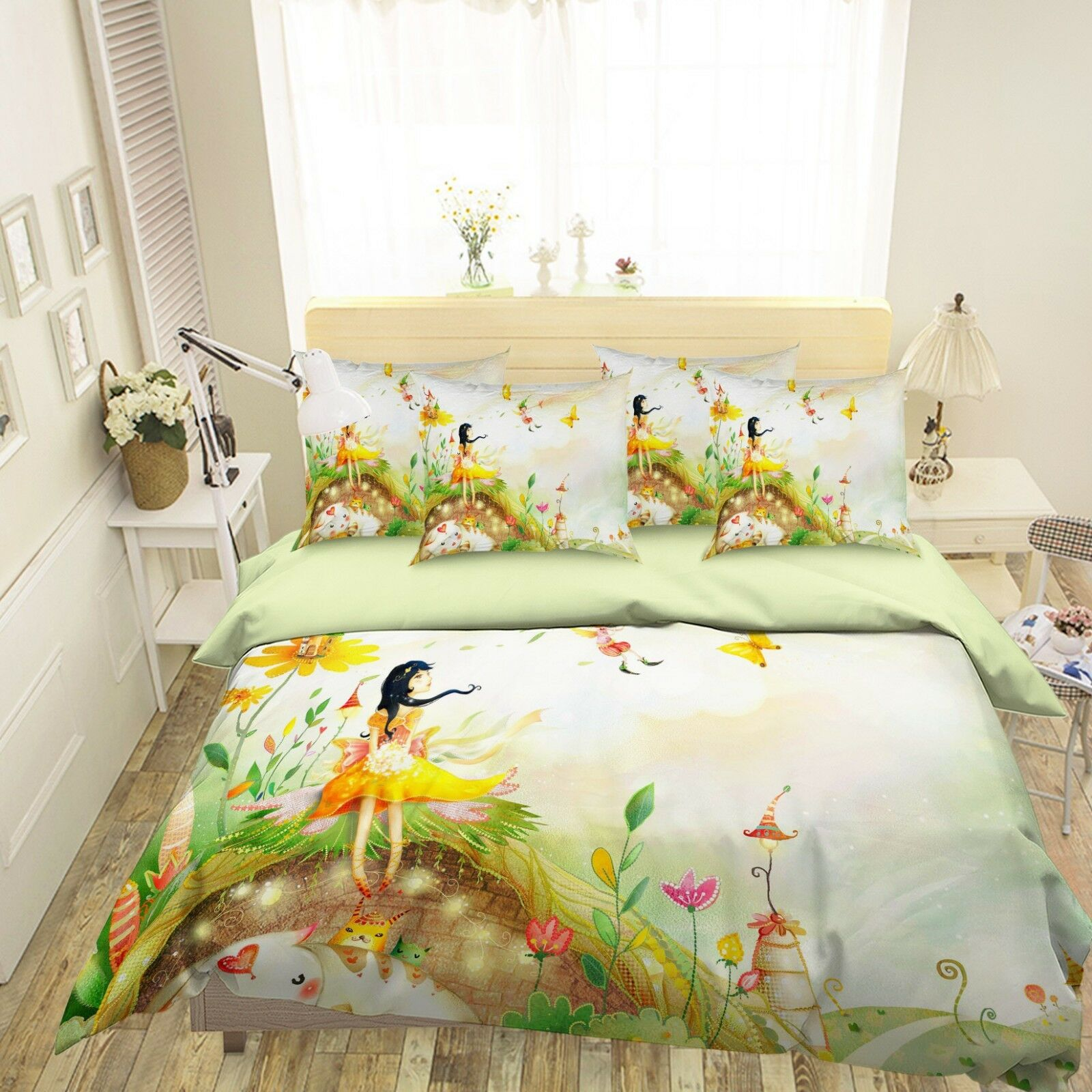 3D Cute Girl 26 Bed Pillowcases Quilt Duvet Single Queen King US Lemon