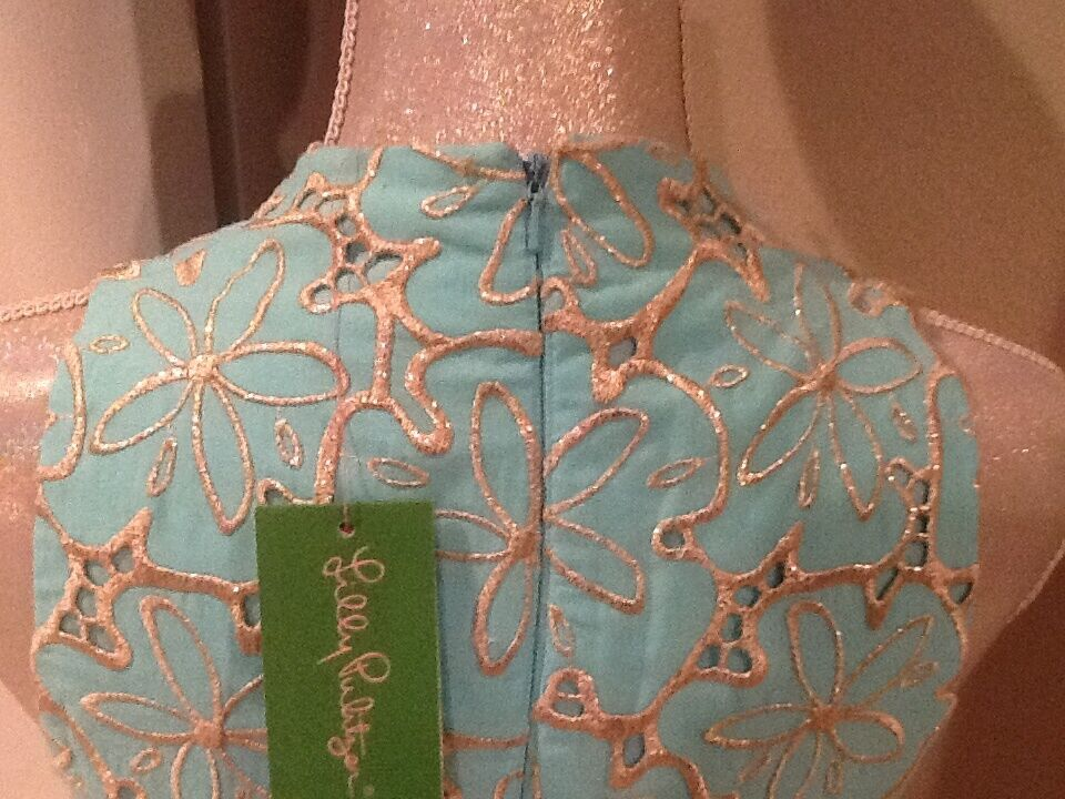 LILLY PULITZER ESTRELLA SAND SAND SAND DOLLAR goldEN EYELET SHIFT blueE DRESS  298 NWT 8 d79dde