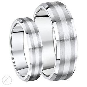 Auãÿergewã¶hnliche Verlobungsringe | Seine Ihre 5 7 Mm Titan Und Silber Abgeschragte Kanten Eheringe Ebay