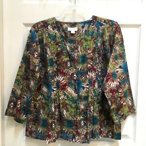 Christopher-amp-Banks-Blouse-Womens-Size-XL-Abstract-Floral-Pintucking-3-4-Sleeve
