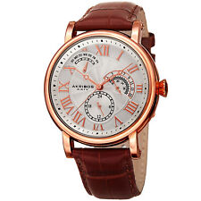 Men's Akribos XXIV AK1003RG Quartz Multifunction Rose Gold/brown Leather Watch