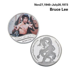WR-Kung-Fu-Star-Of-China-Bruce-Lee-Silver-Coin-Medal-45th-Anniversary-Souvenirs