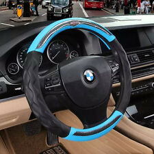 Sport Black blue No Smell 3D Leather Car Steering Wheel Cover Grip Anti slip new