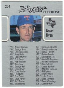 Details About 1990 Leaf Baseball 264 Checklist Card With Nolan Ryan Excellent