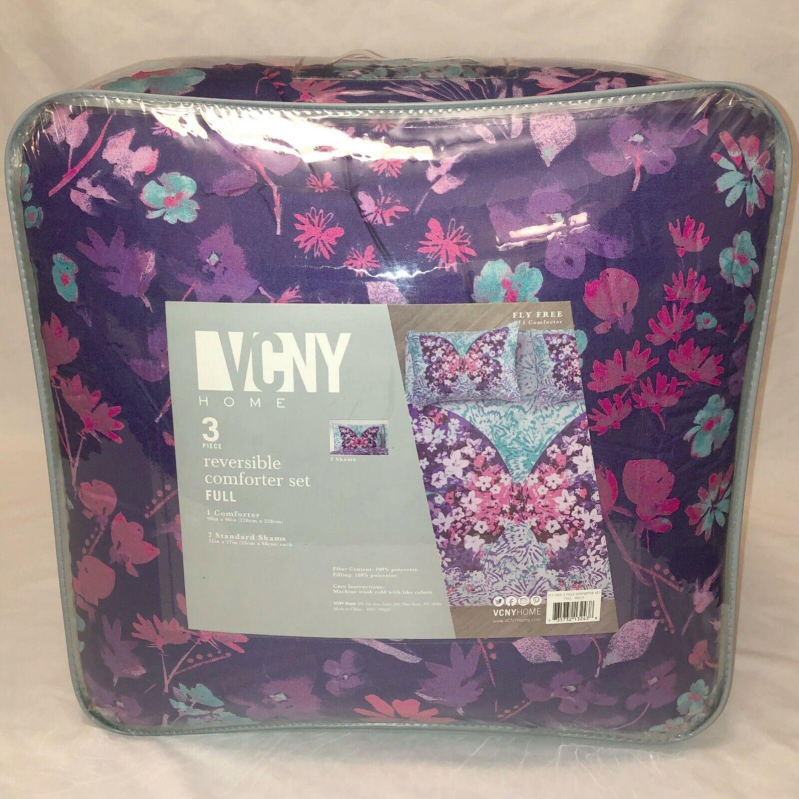 VCNY Home Full Größe Fly Free Reversible Comforter Set Butterfly lila Floral