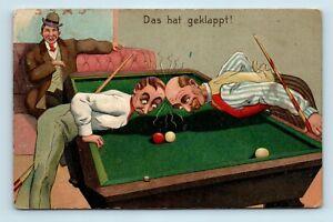 RARE-EARLY-1900s-BILLIARD-POOL-POSTCARD-COMIC-ARTIST-EMBOSSED-S7