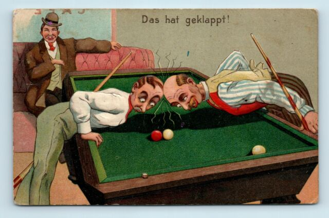 RARE EARLY 1900s BILLIARD / POOL POSTCARD - COMIC ARTIST EMBOSSED - S7