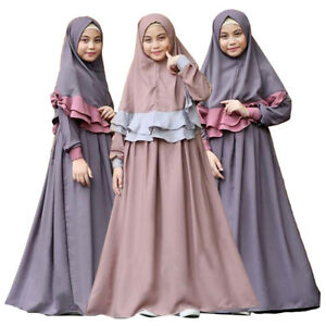 Muslim-Kids-Girls-Prayer-Long-Dress-Hijab-Set-Kaftan-Arab-Abaya-Jilbab-Clothes