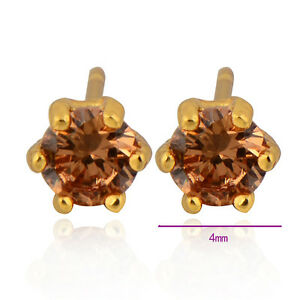 Womens-Champagne-Crystal-Stud-Earrings-Yellow-Gold-Filled-Jewelry