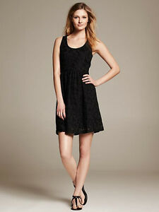 Nwt Banana Republic Black Lace Fit And Flare Dress Sz 4
