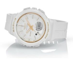 Casio-Baby-G-BGS100GS-7A-Runner-Anadigi-Step-Tracker-White-amp-Gold-Watch