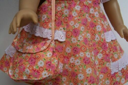 "Debs 1940/'s Style ORANGE Floral Dress Purse Doll Clothes For 18/"" American Girl"