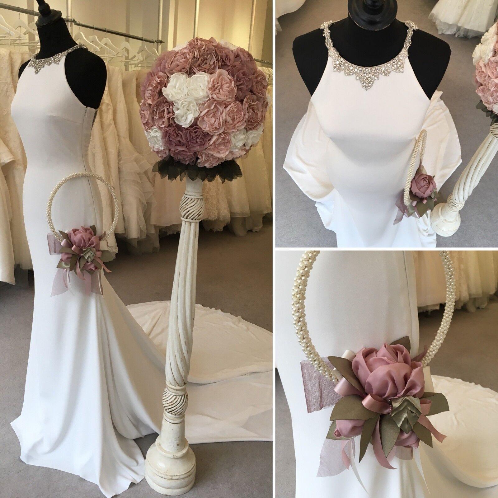 Robe de Mariage Bouquet HOOP-Rose Poudré Roses, feuilles vertes unique fait main