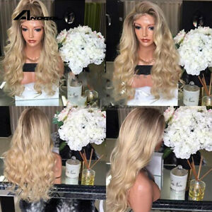 Details about Golden Blonde Balayage Ombre Black Lace Front Wig Water Wave  Wavy Hair Wigs new