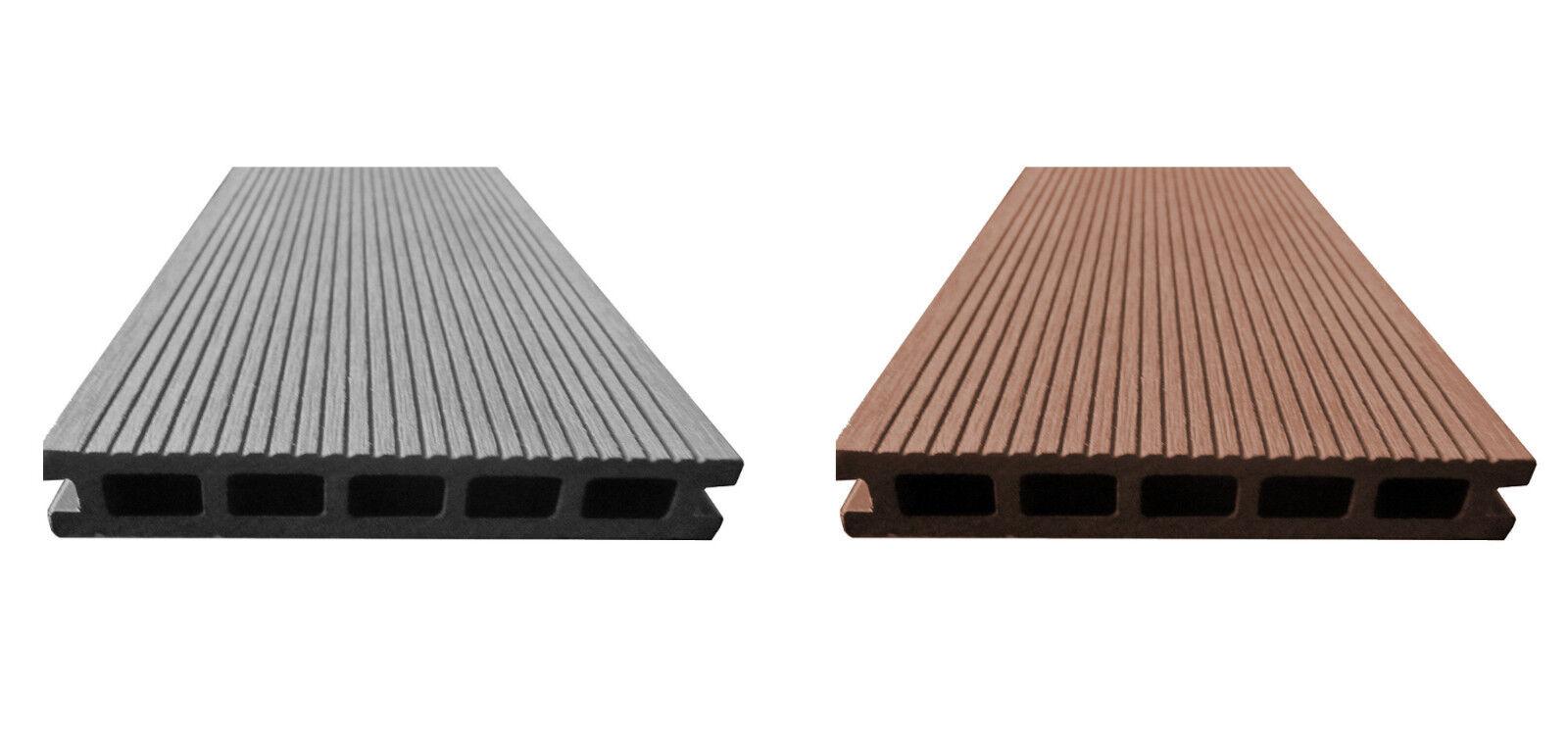 bpc komplettset terrassendielen grau o bangkirai braun komplettbausatz holz wpc ebay. Black Bedroom Furniture Sets. Home Design Ideas