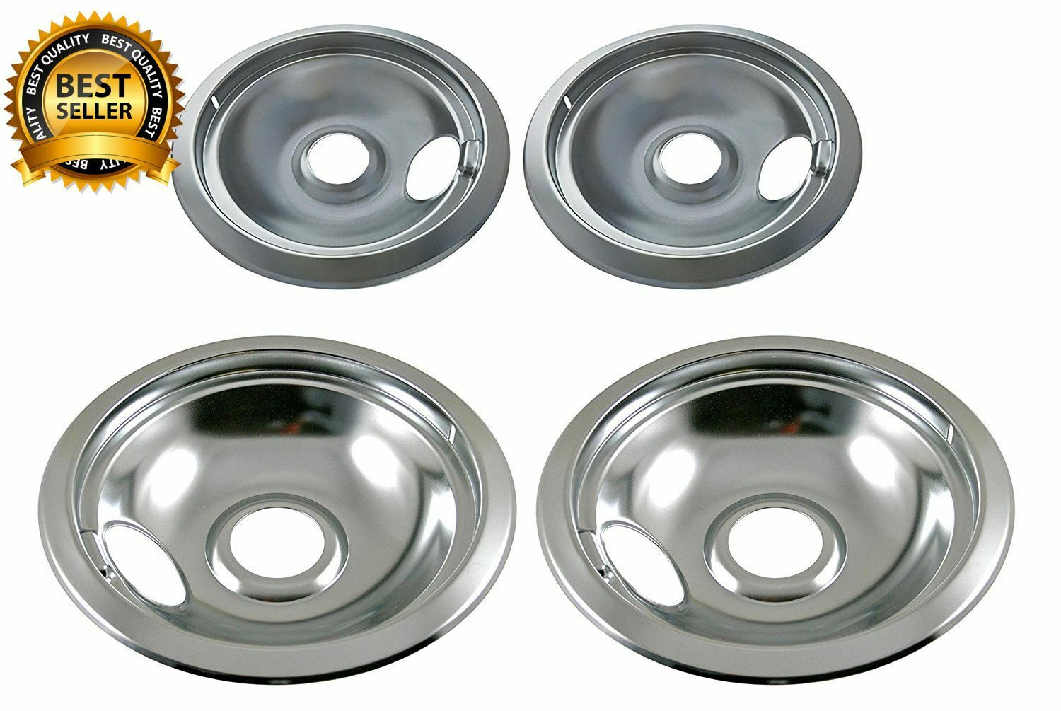 Chrome Drip Pan Set Replacement Stove Drips Pans Electric