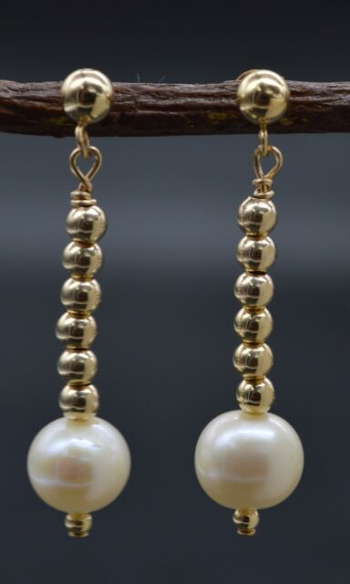 Be 203 14k Solid Gold Natural Cultured White Pearl Beaded Drop Earrings