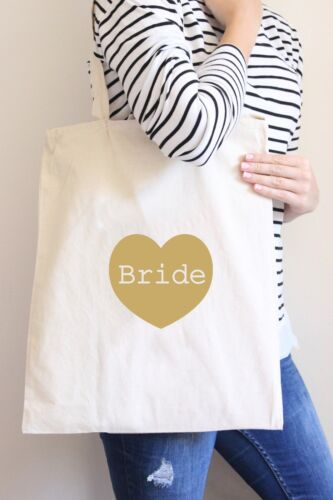 Heart Pink Bride to Be Tote Canvas Bag Wedding Gift Favour Beach//Shopper
