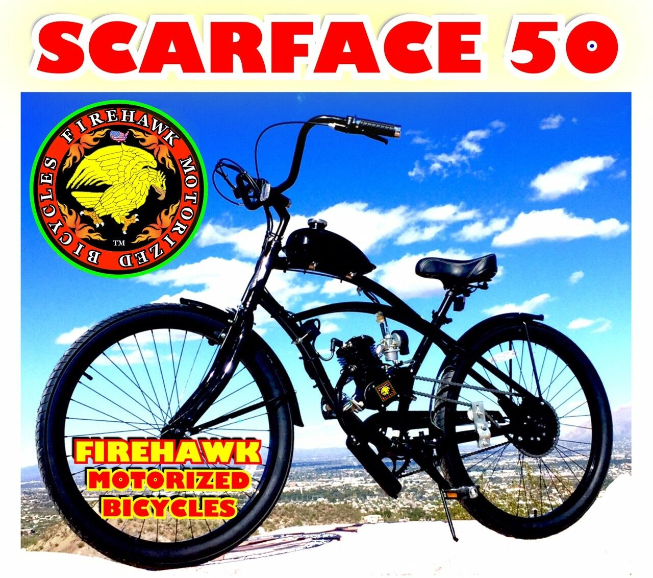 SCARFACE 50 80CC GAS MOTOR MOTORIZED ENGINE & 26  BIKE BICYCLE MOPED SCOOTER KIT