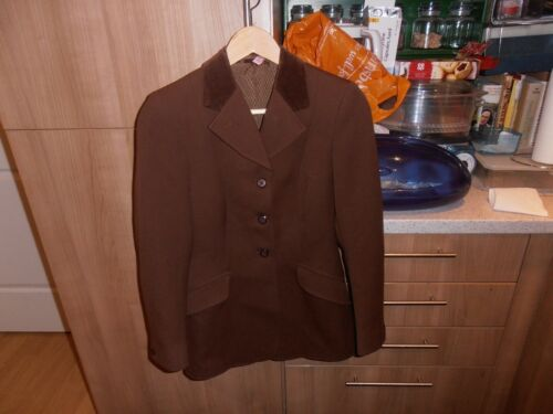 1970s Harry Hall Ladies Brown With Velvet Collar Riding Jacket chest 30""