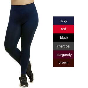 d59ec54f1 Womens Plus Size Solid Nylon Full Length Leggings Stretch Pants Long ...
