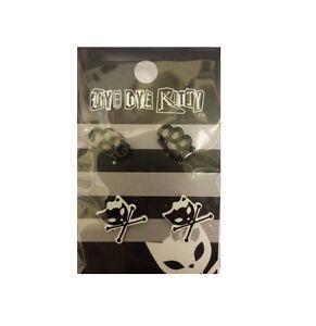 Bye-Bye-Kitty-amp-Crossbones-Knuckleduster-Gothic-Cartoon-Studded-Earrings-Set